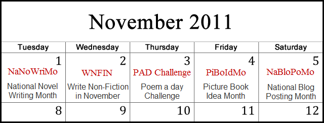 November Writing Calendar 2011