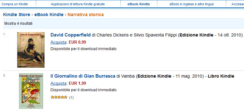 Amazon Kindle Store Italy